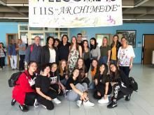 Gli alunni dell'Archimede insieme ai docenti e studenti tedeschi